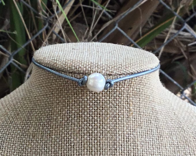 Leather Pearl Choker, Real Pearl Dark Teal  Necklace, Boho, June Birthstone, Birthday Gift, Affordable Christmas Gift, Gift Bag