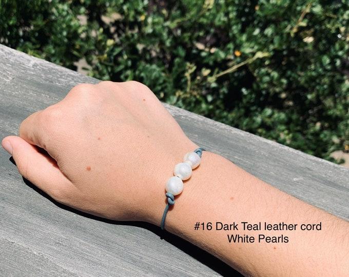 Leather Pearl Bracelet, White Pearl Bracelet, Triple Pearl Leather Bracelet, Affordable Christmas Gift, Boho, June Birthstone, Gift For Her