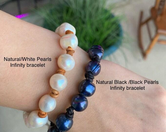 "Adjustable 7"" to 8"" Leather Pearl Infinity Bracelet, Leather Pearl Bracelet, Affordable Christmas Gift, June Birthstone, Boho, Gift Bag"