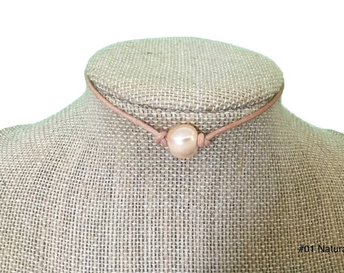 SOFT PINK PEARL, Single Soft Pink Pearl Choker Necklace,Real Pearl Necklace,June Birthstone, Affordable Christmas Gift, Gift Bag