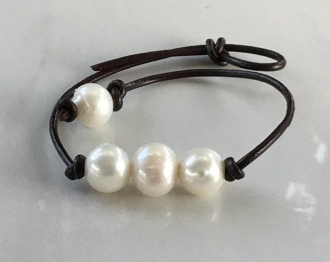 Leather Pearl Anklet, Freshwater Pearl Ankle Bracelet, Boho, Birthday Gift, June Birthstone, Affordable Christmas Gift, Gift Bag