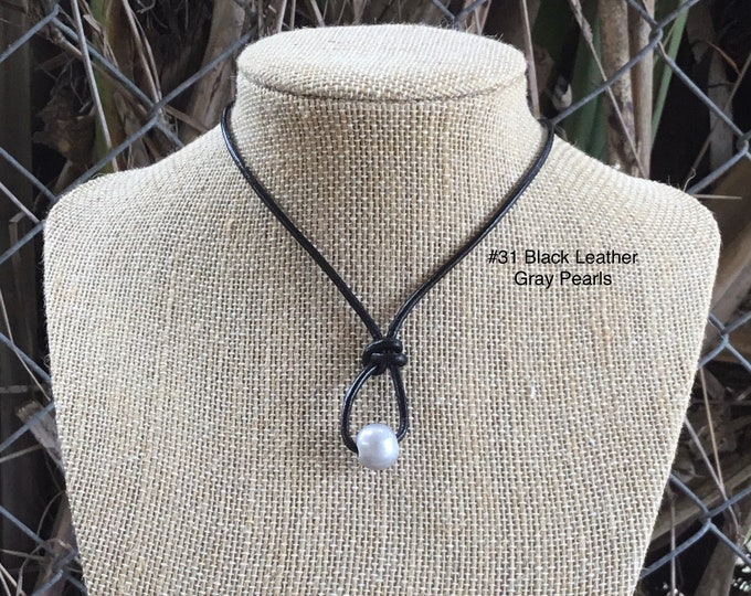 Leather Pearl Necklace, Gray Pearl Necklace, 2mm Leather Necklace, Single Pearl Necklace, Boho, Affordable Gift,  Gift For Her