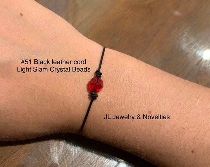 Swarovski Crystal Bracelet, Light Siam Crystal Beads, July Birthstone, Leather and Crystal Bead bracelet, Jewelry Box, Free Shipping