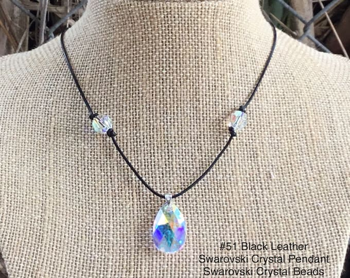 Swarovski Crystal Necklace, April Birthstone, Crystal Teardrop Pendant and Beads, 925 Sterling Silver Hardware, Jewelry Box, Free Shipping