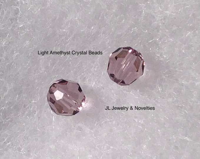 Swarovski Crystal Beads, Light Amethyst #5000, 8mm, Craft Supplies, Jewelry Making, Jewelry Box, Gift For Her, Free shipping