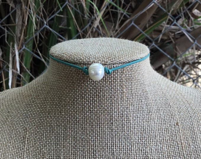 Leather Pearl Choker, Mint Pearl Necklace, Boho necklace, June Birthstone, Birthday Gift, Affordable Christmas Gift, Boho, Gift Bag