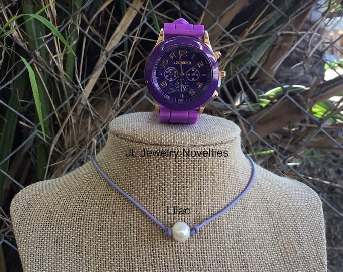 Leather Pearl Necklace, Geneva Watch,  Lilac Leather Pearl Choker, Geneva Watch, Affordable Christmas Gift, Gift for Her