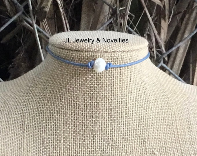 Leather Pearl Choker, Lilac Leather Necklace, Sterling Silver, June Birthstone, Adjustable Choker, Jewelry Box, Gift for Her,Free Shipping
