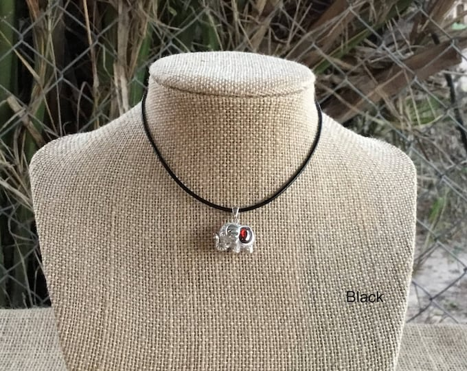 High Quality Silver 925, Red Stone Elephant Pendant and Leather Necklace, Affordable Christmas Gift, Gift for Her or Him, Gift Bag
