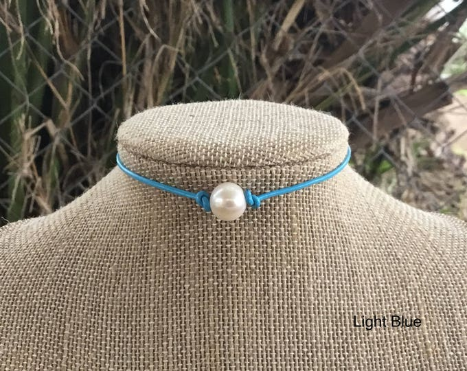 Pearl Choker, Light Blue Leather Necklace, Boho, Real Pearl choker, Affordable Christmas Gift, June Birthstone, Gift Bag