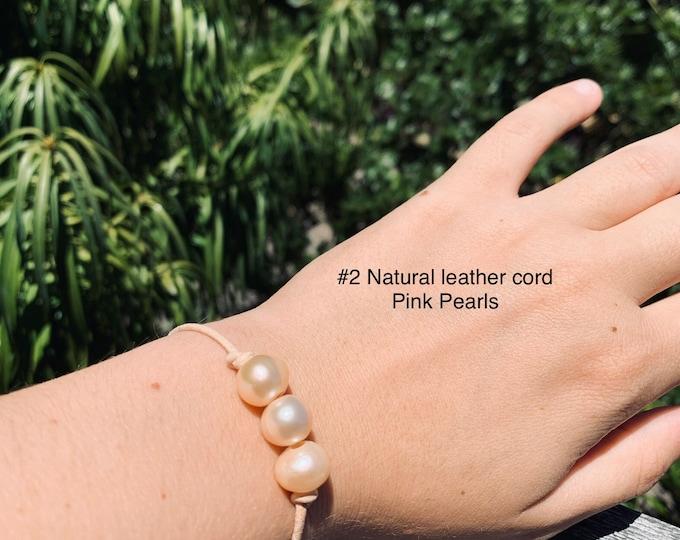 Leather Pearl Bracelet, Soft Pink Pearl Bracelet, Triple Pearl Bracelet, Affordable Christmas Gift, Boho, June Birthstone, Gift For Her