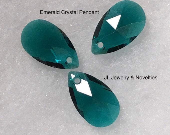 Swarovski Crystal Pendant, Emerald Crystal Pendant 22mm X 13mm, Craft Supplies, Jewelry Making, Jewelry Box, Free Shipping