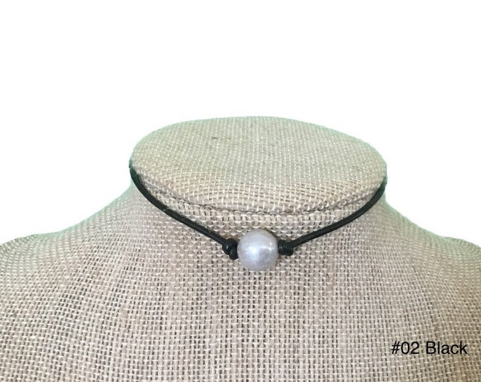 Leather Pearl Necklace, Single Gray Pearl Choker Necklace,Real Pearl Necklace, Gray Pearls, Affordable Gift, Gift For Her