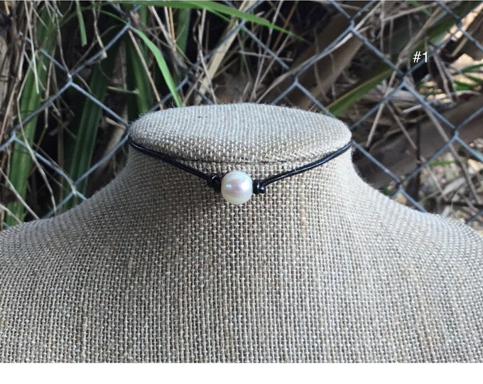 Leather Pearl Choker, Real Pearl Necklace, Single Pearl Choker Necklace, Boho, June Birthstone, Affordable Christmas Gift,  Gift Bag