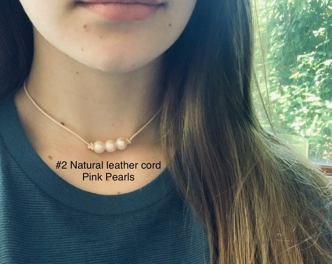 Leather Pearl Choker, Triple Soft Pink Pearl Leather Knotted Choker, Boho, June Birthstone, Birthday Gift , Affordable Gift, Gift For Her