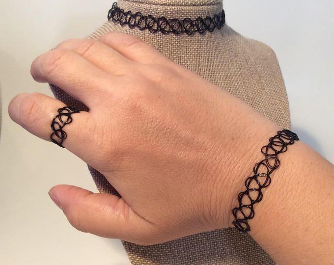 Vintage Black Tattoo Choker Set, Tatoo Choker, Tattoo Bracelet, Tattoo Ring, 90's, Black Choker, Gift Bag