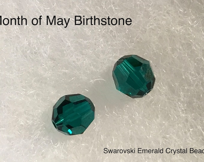 Swarovski Crystal Beads, 8mm, Emerald #5000, May Birthstone, Emerald Crystal Bead, Craft Supplies, Jewelry Box, Gift For Her, Free Shipping