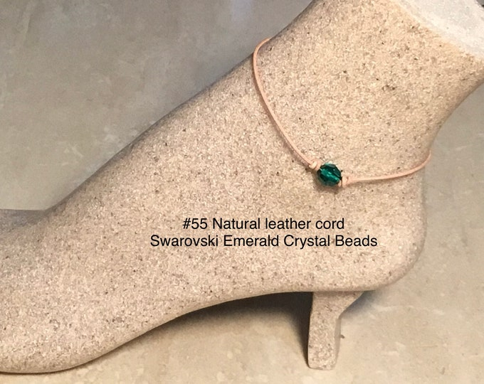 Swarovski Crystal Anklet, Emerald Crystal Beads, May Birthstone, Leather and Crystal Bead Anklet, Jewelry Box, Free Shipping