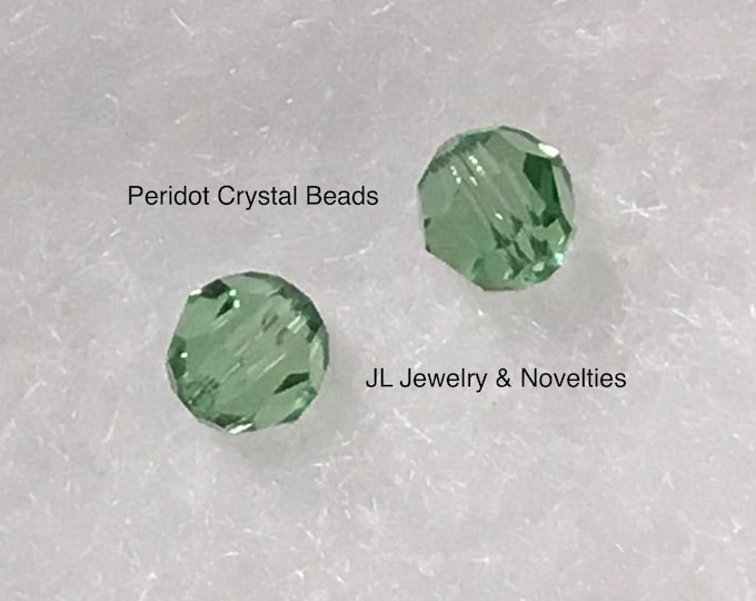 Swarovski Crystal Beads, Peridot Crystal #5000, 8mm, Craft Supplies, Jewelry Making, Jewelry Box, Gift For Her, Free shipping