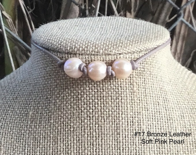Leather Pearl Choker, Soft Pink Pearl Choker, Triple Pearl Leather Knotted Choker, Boho, Birthday Gift , Affordable Gift, Gift For Her