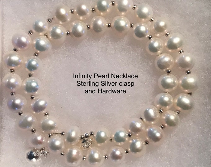 Infinity Pearl Necklace, Freshwater Pearl Necklace, Birthday Gift, Wedding Gift, Bridal Gift, June Birthstone, Gift Box, Free Shipping