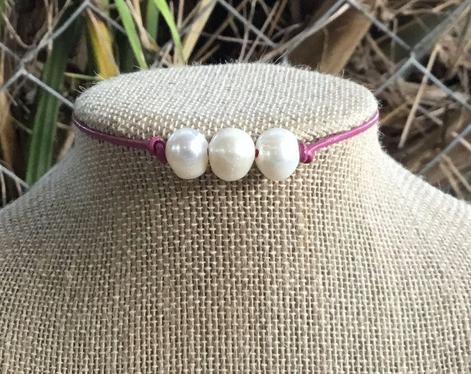 Leather Pearl Choker, Triple Pearl Necklace, Hot Pink Pearl Necklace, Boho, June Birthstone, Affordable Christmas Gift, Gift Bag