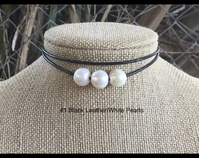 Leather Pearl Choker, Triple Pearl Choker, Double Stranded Choker, Lariat Choker, Affordable Christmas Gift, June Birthstone, Gift For Her
