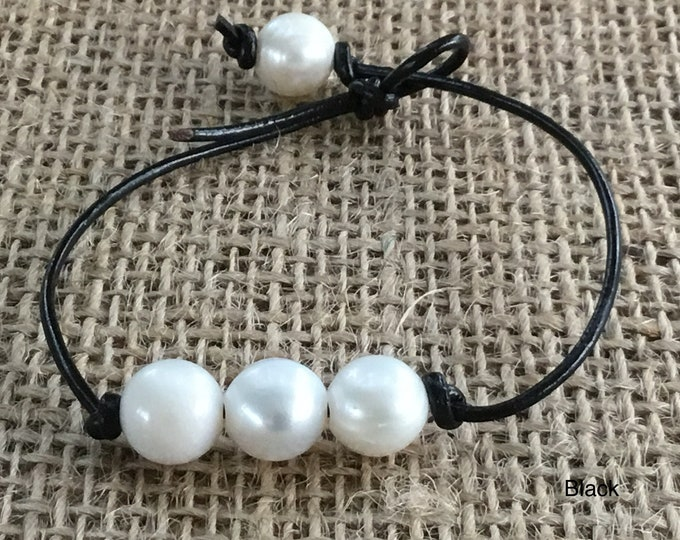 Leather Pearl Bracelet, Pearl Bracelet, Triple Pearl Leather Bracelet, Boho, June Birthstone, Affordable Christmas Gift, Gift Bag