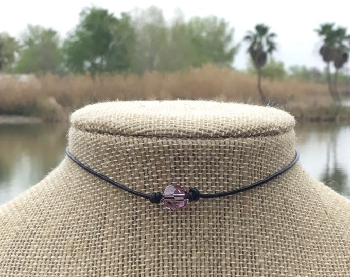Swarovski Crystal Choker Necklace, Amethyst Bead, 925 Sterling Silver Lobster Clasp, Sterling Silver, Jewelry Box, Free Shipping