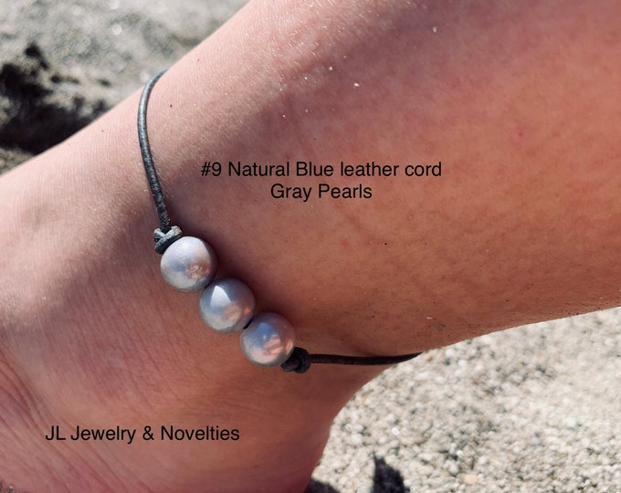 Leather Pearl Anklet, Gray Pearl Ankle Bracelet, Triple Pearl Anklet, Boho, Birthday Gift, Affordable Gift, Gift For Her