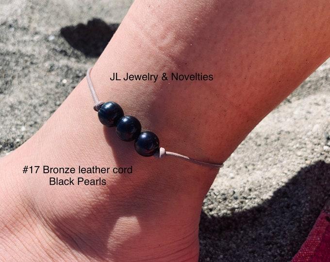 Leather Pearl Anklet, Black Pearl Ankle Bracelet, Triple Pearl Anklet, Boho, Birthday Gift, Affordable Gift, Gift For Her