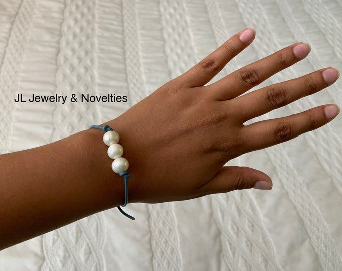 Leather Pearl Bracelet, Pearl Bracelet, Triple Pearl Leather Bracelet, Boho, June Birthstone, Affordable Christmas Gift, Gift For Her