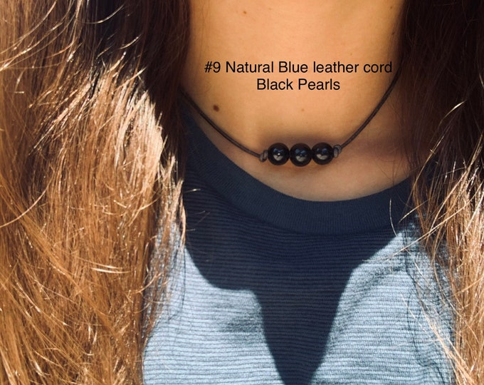 Leather Pearl Choker, Triple Black Pearl Leather Knotted Choker, Boho, June Birthstone, Birthday Gift, Affordable Gift, Gift For Her