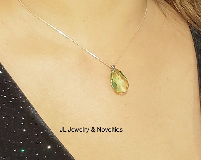 Swarovski Peridot Crystal Necklace, Peridot Crystal, Adjustable Sterling Silver Box Chain/Magnetic Clasp, Jewelry Box, Free Shipping