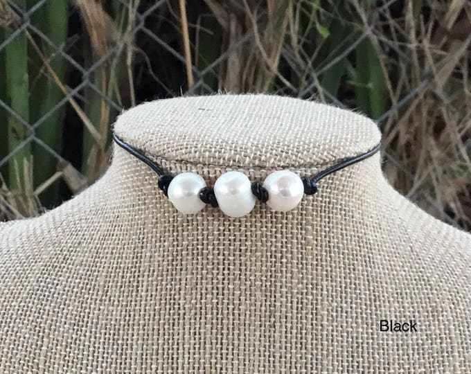 Leather Pearl Choker, Triple Pearl Leather Knotted Choker, Boho, June Birthstone, Birthday Gift , Affordable Christmas Gift, Gift For Her