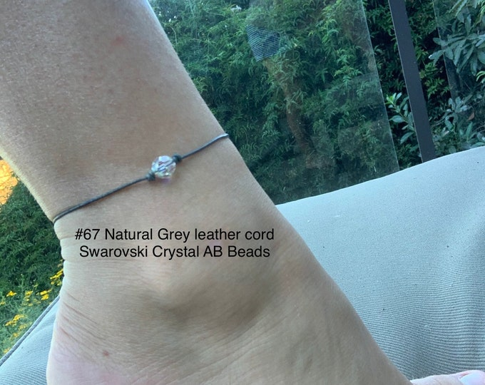 Swarovski Crystal Anklet, Crystal AB Beads, April Birthstone, Leather and Crystal Bead Ankle, Jewelry Box, Free Shipping