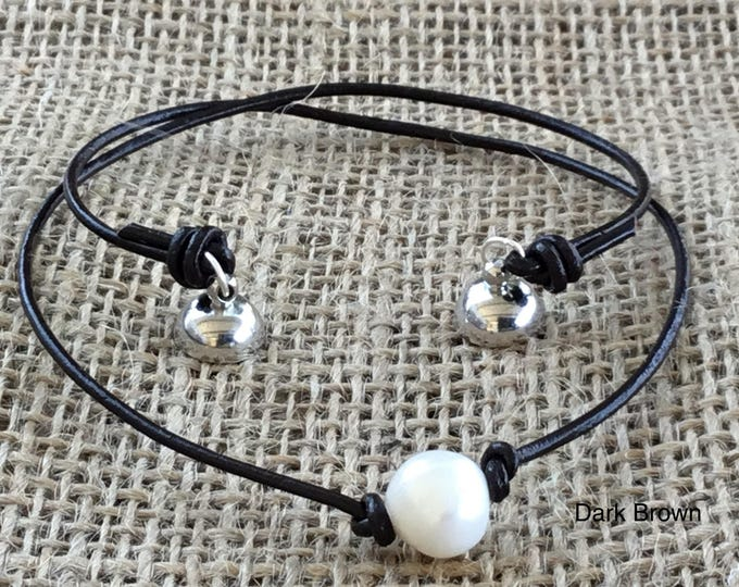 Leather Pearl Necklace, Magnetic Clasp, Real Pearl Leather Choker, Birthday Gift, June Birthstone, Affordable Gift, Gift For Her