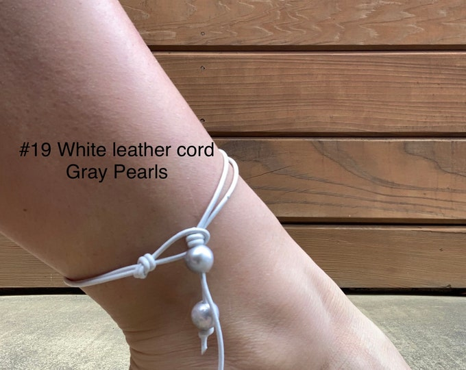 Leather Pearl Anklet, Gray Pearls, Double Stranded Pearl Ankle Bracelet, Dangling Pearls, Birthday Gift, Gift For Her
