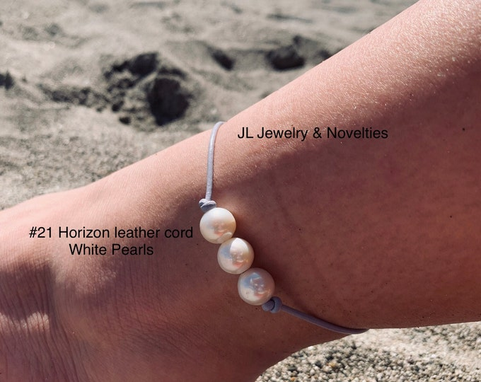 Leather Pearl Anklet, Freshwater Pearl Ankle Bracelet, Boho, Birthday Gift, June Birthstone, Affordable Christmas Gift, Gift For Her