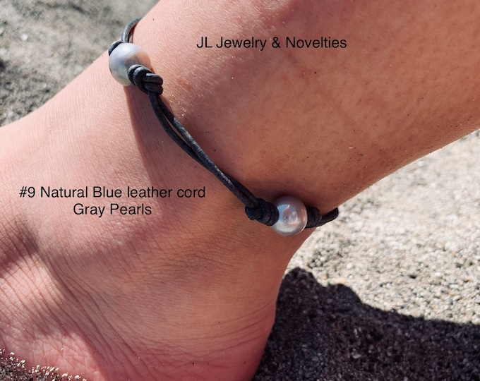 Leather Pearl Anklet, Double Stranded Pearl Ankle Bracelet, Four(4) Gray Pearl Ankle Bracelet, Birthday Gift, Gift For Her