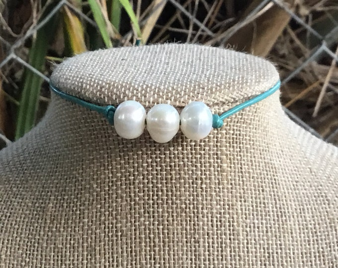 Leather Pearl Choker, Triple Pearl Mint Necklace, Real Pearl Necklace, Boho, June Birthstone, Affordable Christmas Gift, Gift Bag