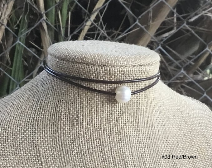 Single Pearl Choker, Double Stranded Choker, Lariat Choker, Affordable Christmas Gift, June Birthstone, Gift Bag