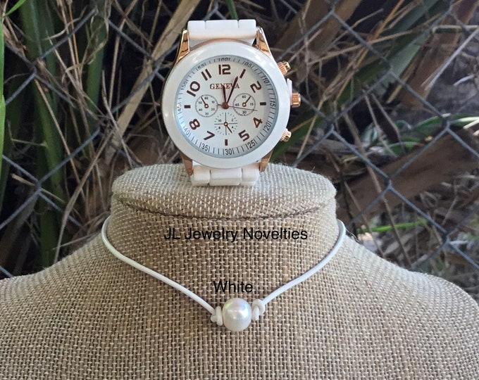 White Leather Pearl Necklace and Geneva Watch Set, Leather Pearl Choker, Geneva Watch, Affordable Christmas Gift, Gift Bag