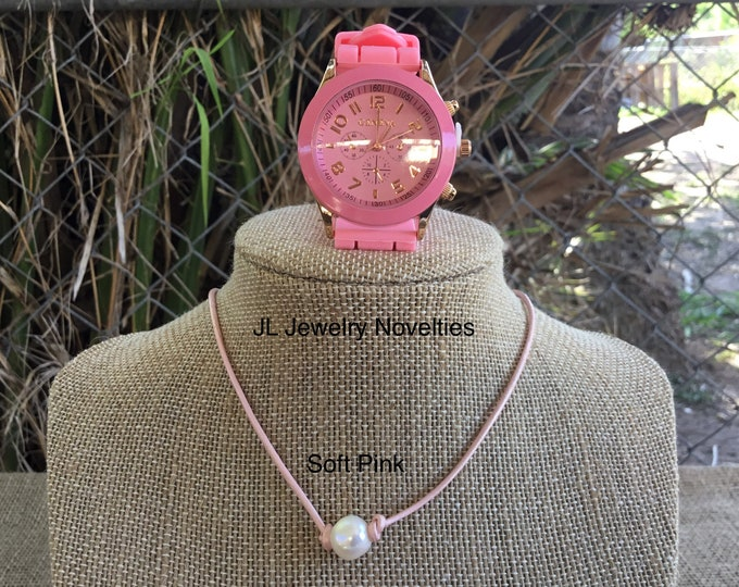 Leather Pearl Necklace, Geneva Watch, Choker and Watch Set, Soft Pink Leather Pearl Choker, Affordable Gift, June Birthstone, Gift For Her
