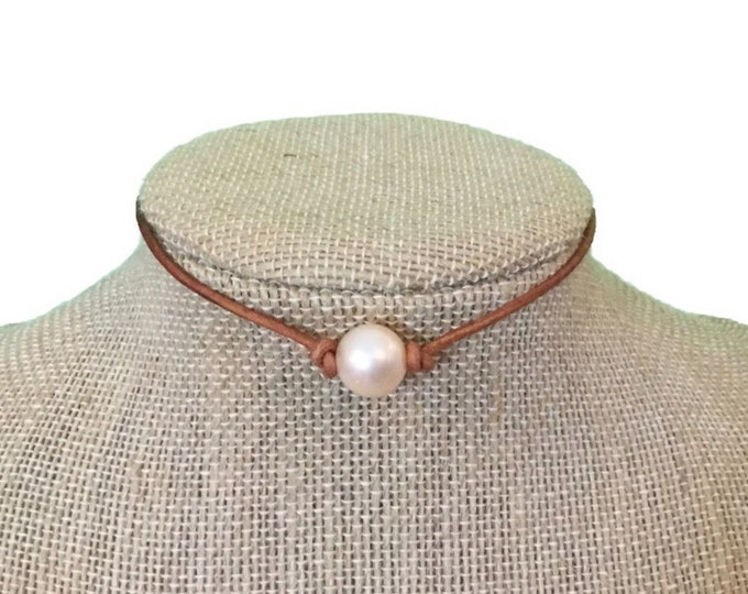 Leather Pearl Necklace, Single Soft Pink Pearl Choker Necklace, Boho, Gift For Her, Affordable Christmas Gift, Real Freshwater Pearls