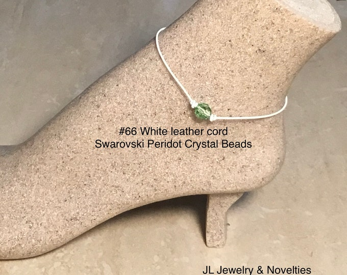 Swarovski Crystal Anklet, Peridot Crystal Beads, August Birthstone, Leather and Crystal Bead Anklet, Jewelry Box, Free Shipping
