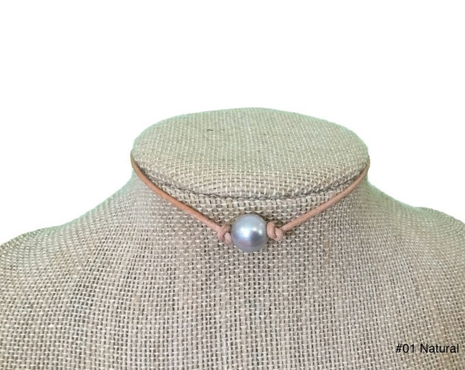 Leather Pearl Necklace, 2mm Leather Cord, Single Gray Pearl Choker Necklace,Real Pearl Necklace,Gray Pearls, Affordable Gift, Gift For Her