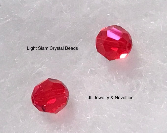 Swarovski Crystal Beads, Light Siam #5000, 8mm, Craft Supplies, Jewelry Making, Jewelry Box, Gift For Her, Free shipping
