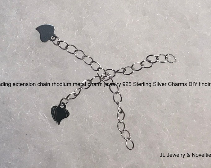 Finding extension chain rhodium metal charm jewelry 925 Sterling Silver Charms DIY findings