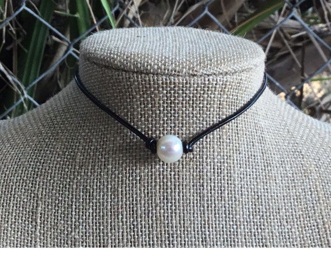 Leather Pearl Necklace, Single Pearl Choker Necklace, Real Pearl Necklace, June Birthstone, Affordable Gift, Gift For Her